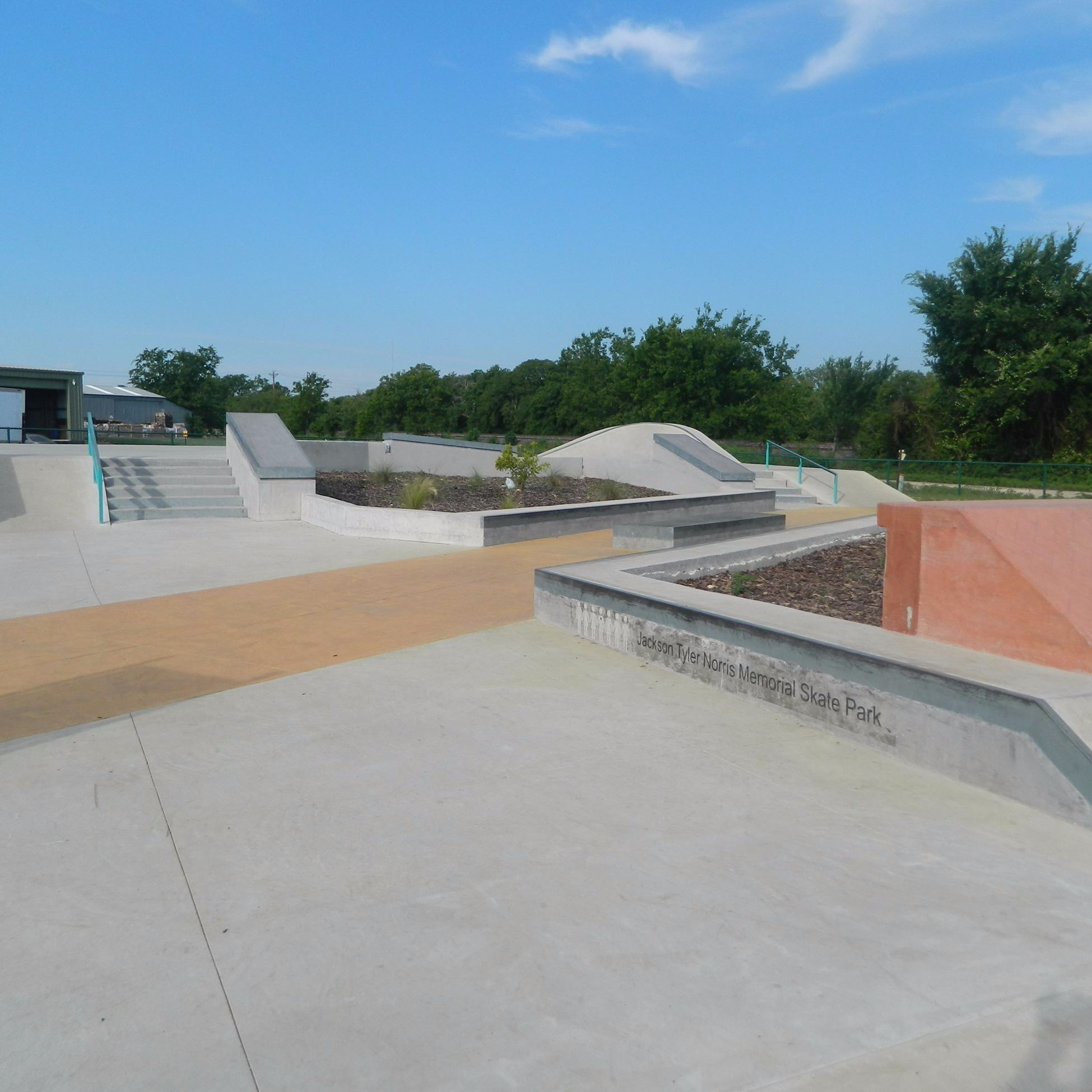 Skate park view from grinding rails