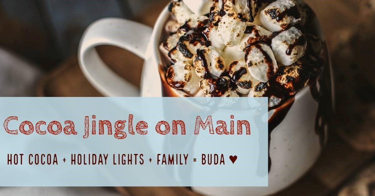 hot chocolate with info about the Cocoa Jingle times and date