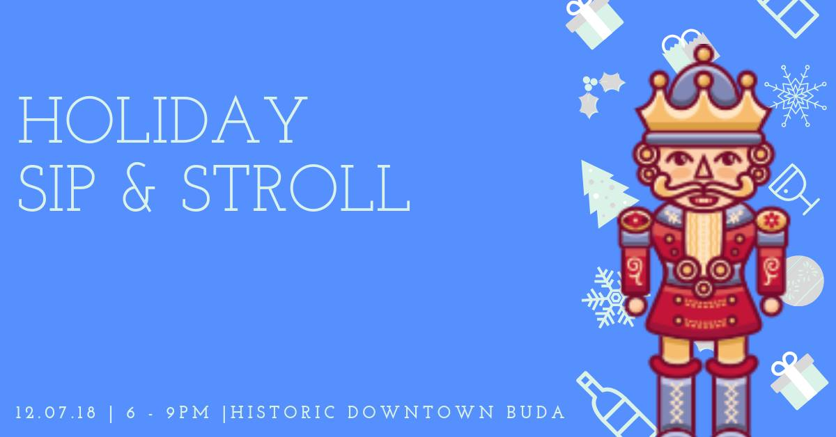 holiday sip and stroll banner with time and date information