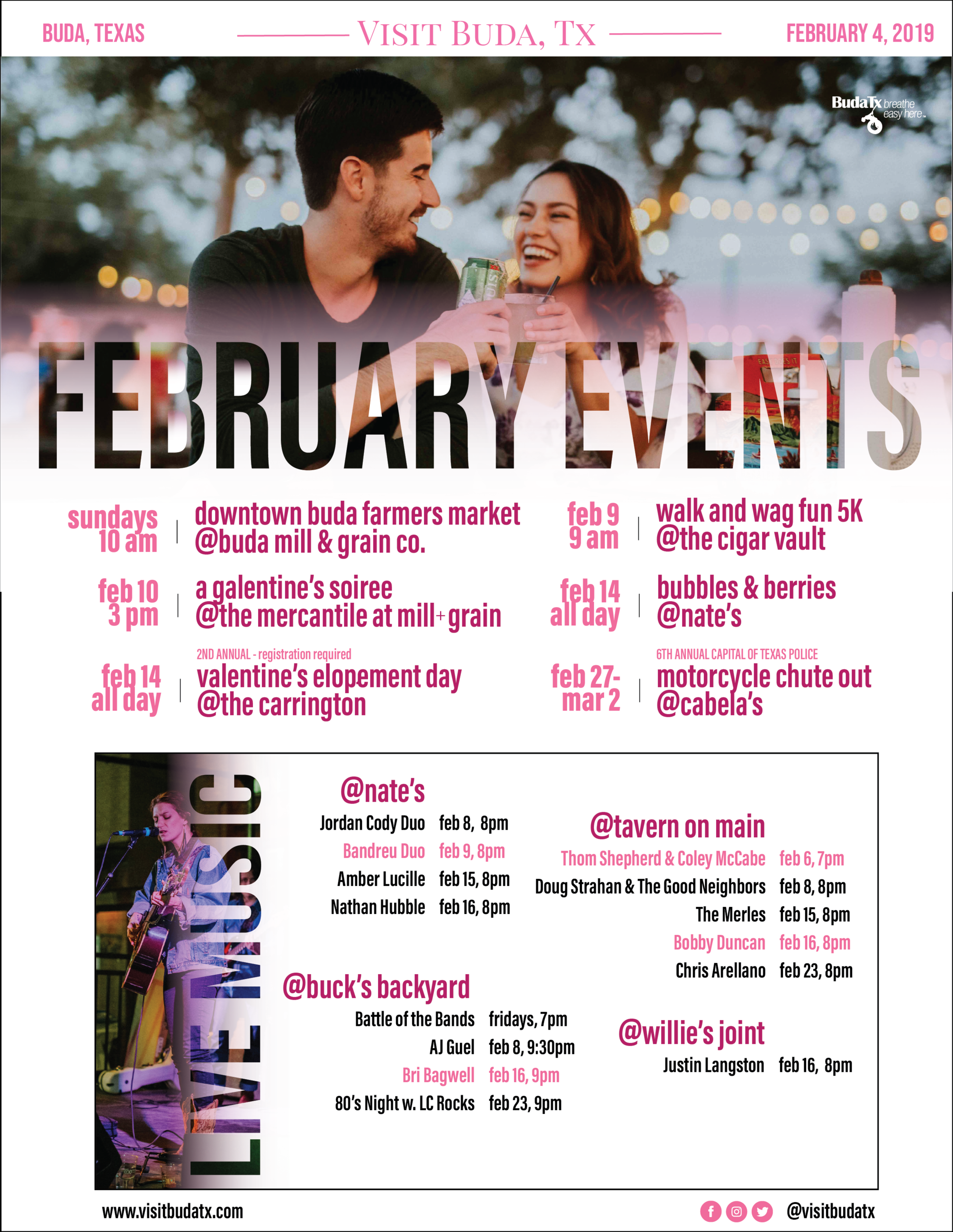 A listing of events in Buda, TX
