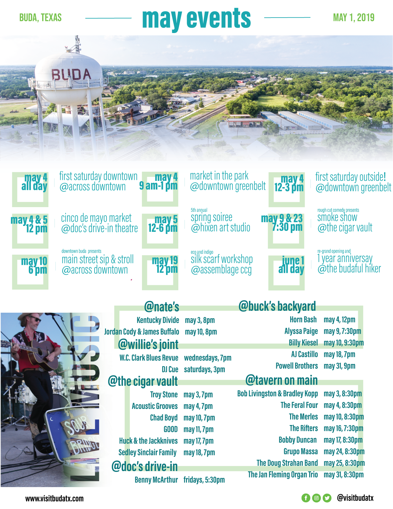 Curated list of events occurring in Buda, TX in May 2019