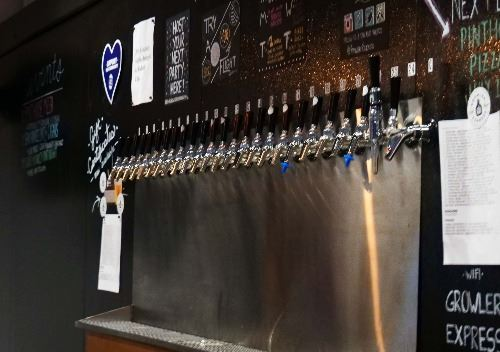 Beer taps at Growler Express
