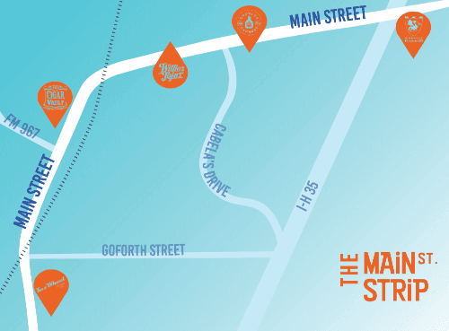 A map of the Main Street Strip