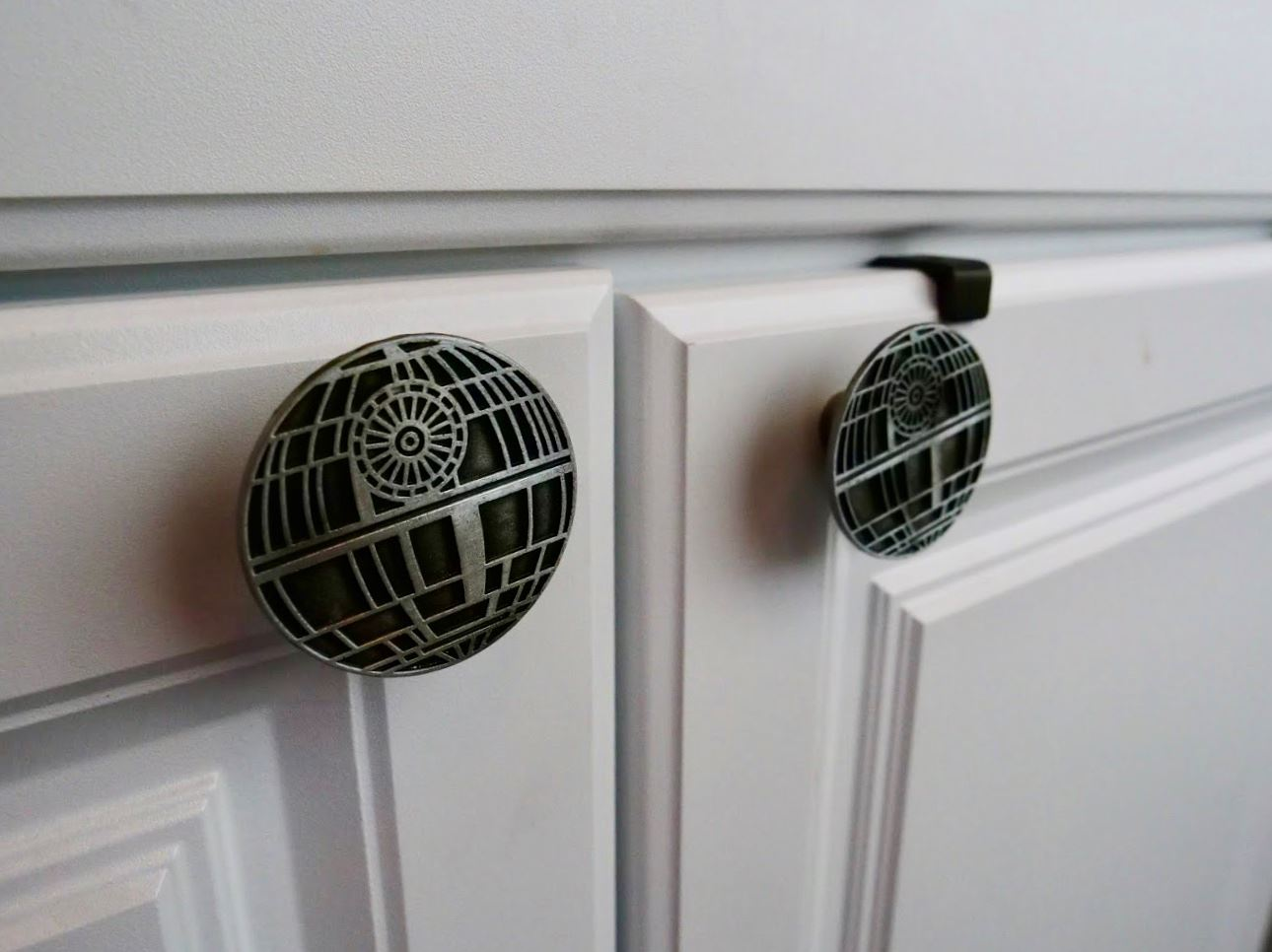 Death Star knobs in Star Wars themed tiny home at Docs Drive-In Theatre