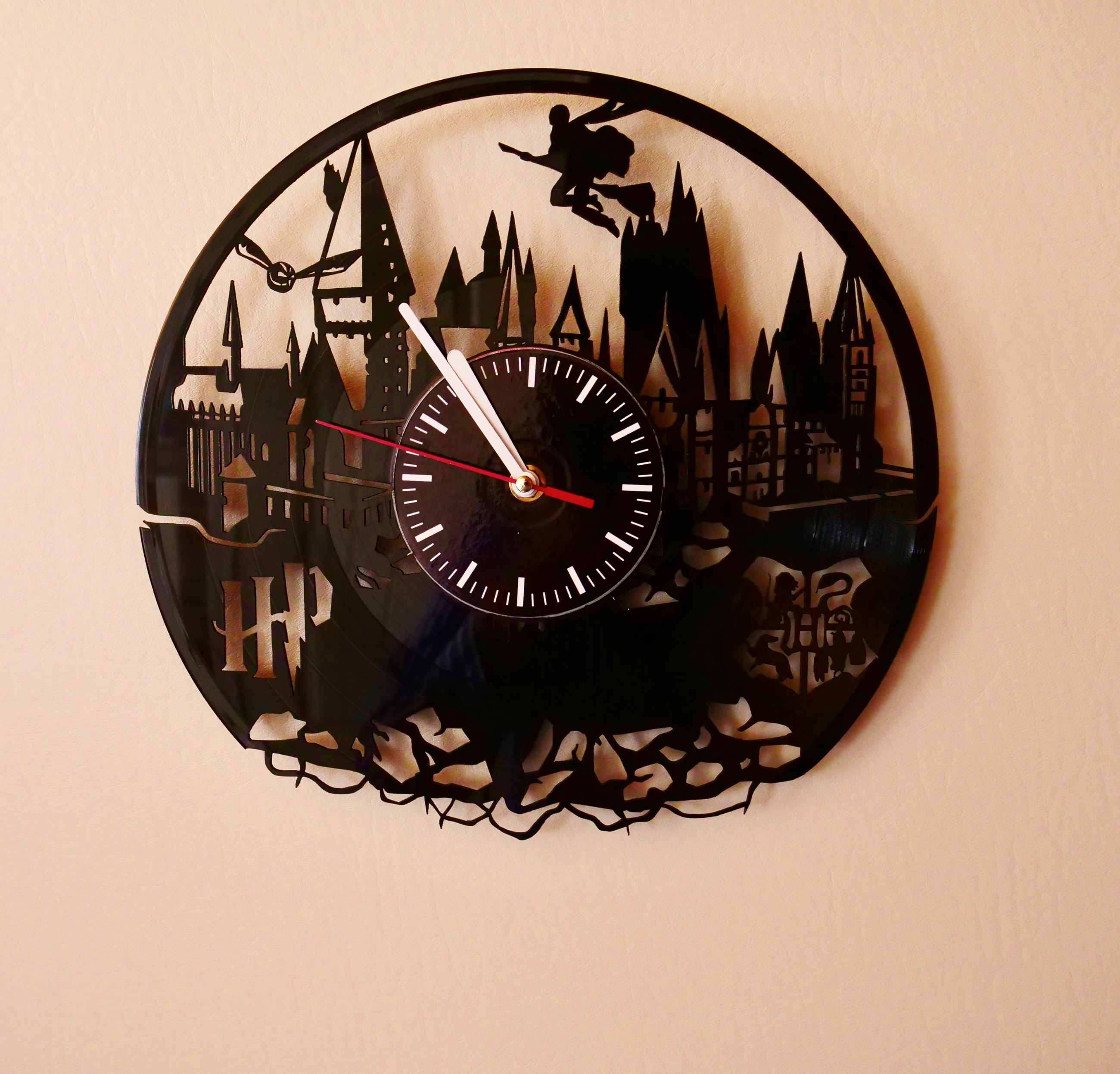 Harry Potter themed clock in Harry Potter tiny home at Docs Drive-In Theatre