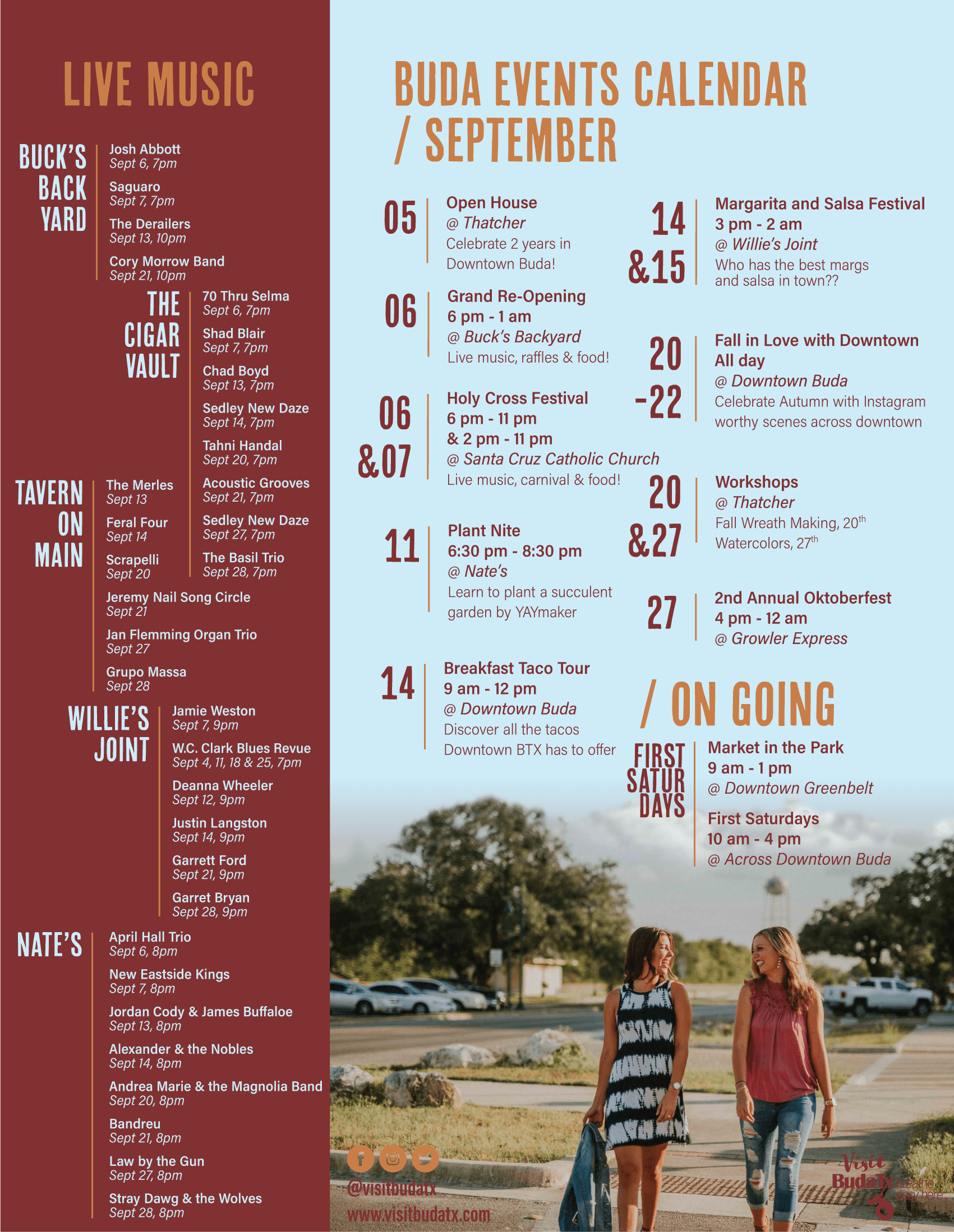 Calendar of events in Buda, TX for September 2019