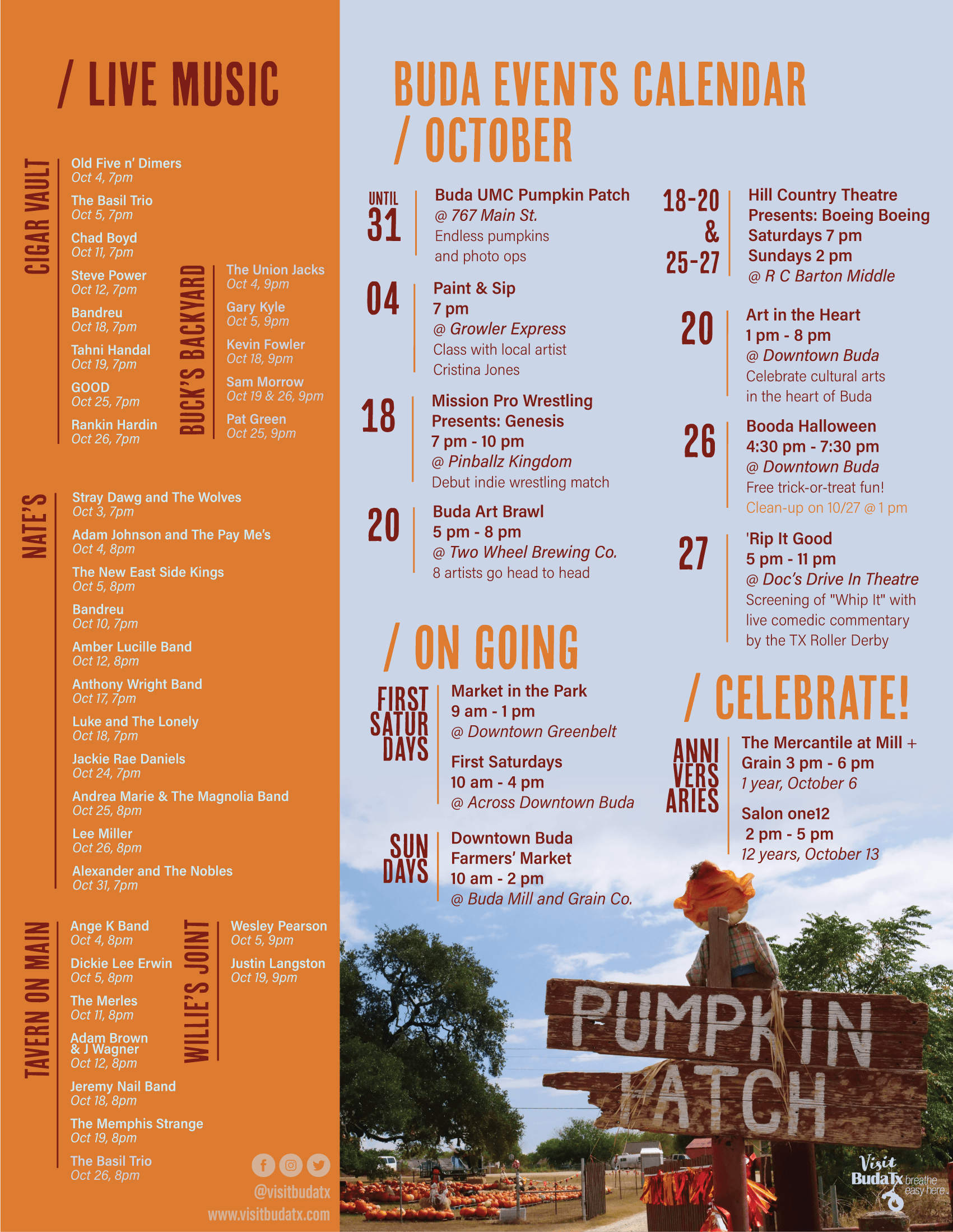 2019 October events calendar in Buda, Tx