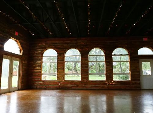 View of backyard and windows from inside the Ruby Ranch  Event Center