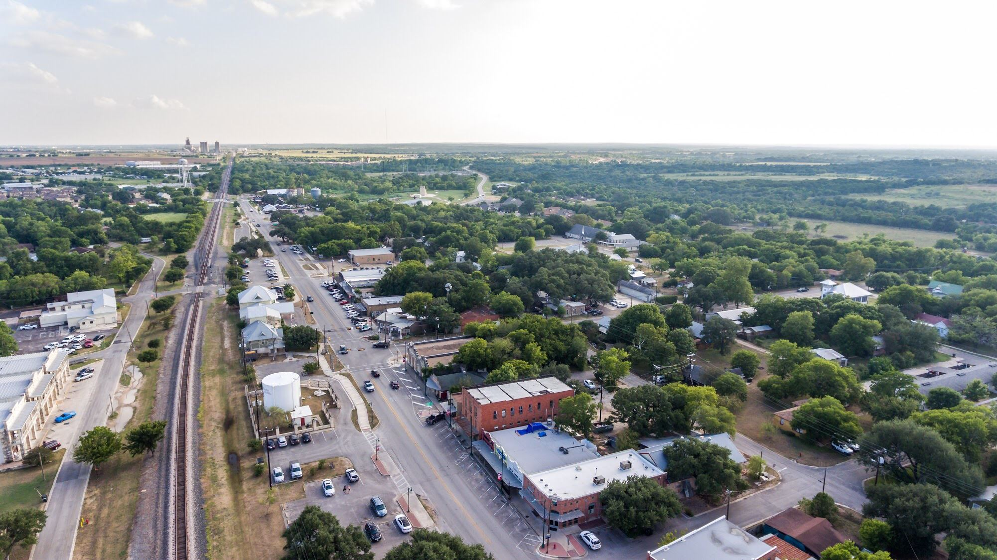 Aerial view of Downtown Buda