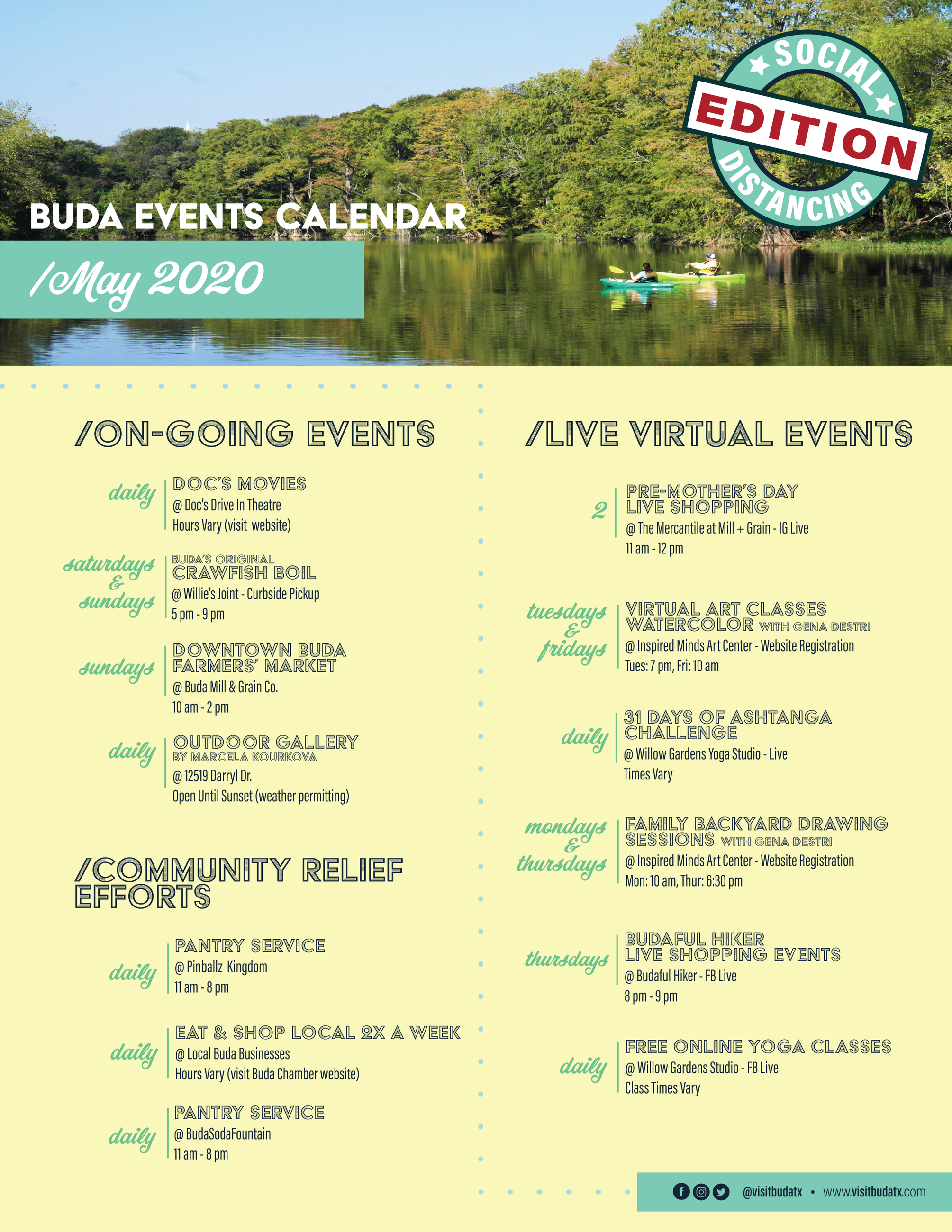 May 2020 Calendar of Events in Buda, TX